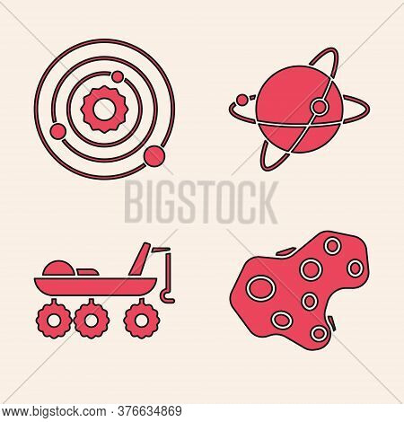 Set Asteroid, Solar System, Satellites Orbiting The Planet Earth And Mars Rover Icon. Vector