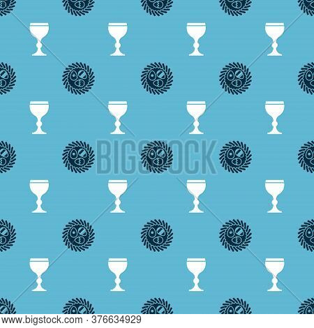 Set Easter Egg In A Wicker Nest And Wine Glass On Seamless Pattern. Vector