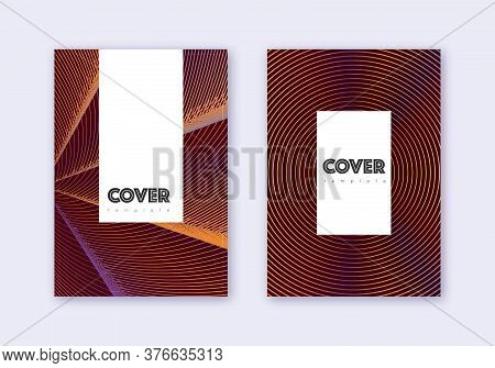 Hipster Cover Design Template Set. Orange Abstract Lines On Wine Red Background. Classic Cover Desig