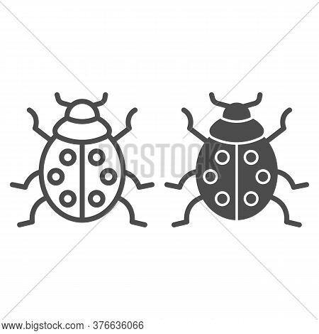 Ladybug Line And Solid Icon, Beetles Concept, Ladybird Sign On White Background, Lady-beetle Icon In