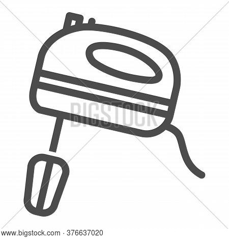 Mixer Line Icon, Ccc Concept, Kitchen Mixer Sign On White Background, Hand Mixer Icon In Outline Sty