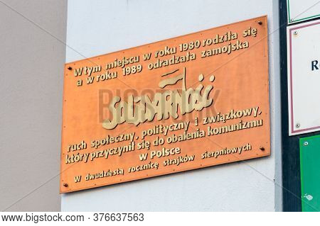 Zamosc, Poland - June 12, 2020: Plaque Commemorating The Establishment Of The Zamosc Branch Of Solid