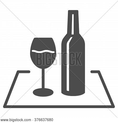 Glass Of Wine And Bottle On The Tablecloth Solid Icon, Picnic Concept, Picnic Food Sign On White Bac