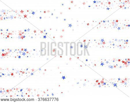 American Memorial Day Stars Background. Holiday Confetti In Usa Flag Colors For Presidents Day.  Pos