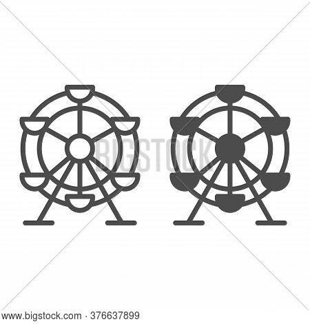 Ferris Wheel Line And Solid Icon, Amusement Park Concept, Fairground Ride Sign On White Background,