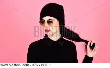 Eyewear And Fashion Concept. Woman With Bright Lips And Stylish Eyewear