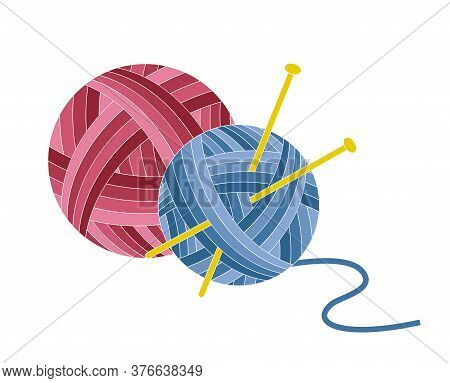Balls Of Yarn With Knitting Needles. Blue And Red Skeins Of Wool. Vector Flat Illustration Isolated