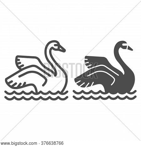 Swan On The Water Line And Solid Icon, Amusement Park Concept, Park Elegant Waterbird Sign On White