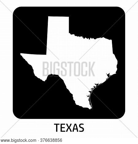 Texas State Map Icon On Dark Background