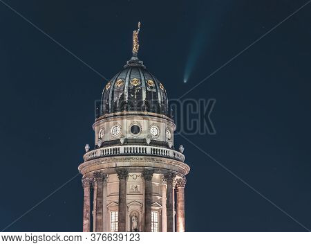 Neowise Comet Visible In City Of Berlin Over Berlin Cathedral With Illuminated Night Sky. Astro Phot