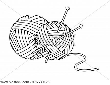 Balls Of Yarn With Knitting Needles Icon. Linear Style. Vector Flat Illustration On White Background