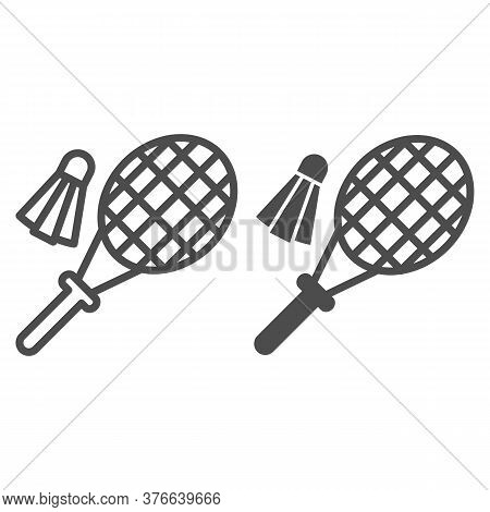 Racket And Shuttlecock Line And Solid Icon, Summer Sport Concept, Badminton Sign On White Background