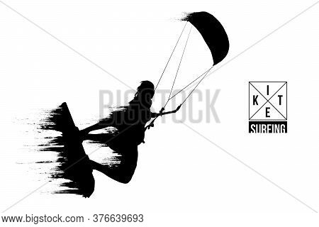 Kiteboarding, Hydrofoil. Silhouette Of A Kitesurfer. Man In A Jump Performs A Trick. Big Air Competi