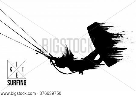 Kiteboarding, Hydrofoil. Silhouette Of A Kitesurfer. Woman In A Jump Performs A Trick. Big Air Compe
