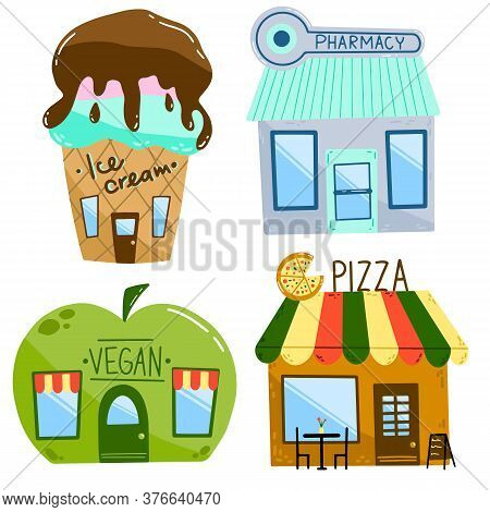 Flat Vector Illustration Of Cartoon Houses. Set Of Shops Isolated On A White Background. Ice Cream C
