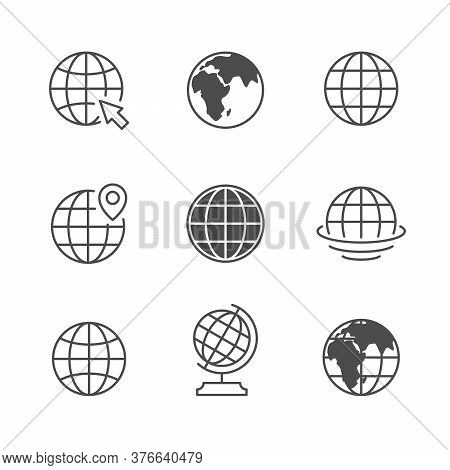 Set Icons Of Globe Or Planet Earth Isolated On White. Map Concept, International Sign, World Symbol,
