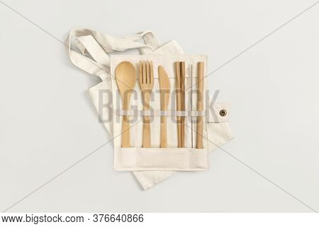 Eco Friendly Bamboo Cutlery Set. Zero Waste, Recycling And Plastic Free Concept.