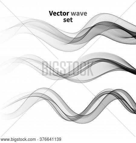 Set Design Abstract Gray Smoke Wave. Transparent Wave. Abstract Smooth Wave Vector. Smoke Gray Wave.