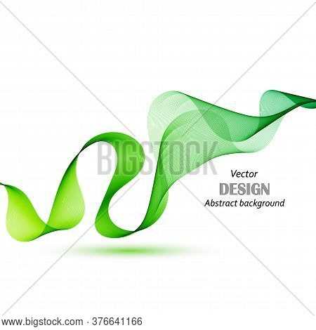 Green Design Element Gradient Wave Line Isolated On White Background. Abstract Transparent Smooth Wa