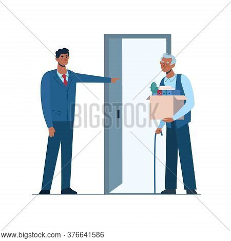 Retirement. Fired Old Man Leaves The Office With A Box In His Hands. Boss Leaves Elderly Person With