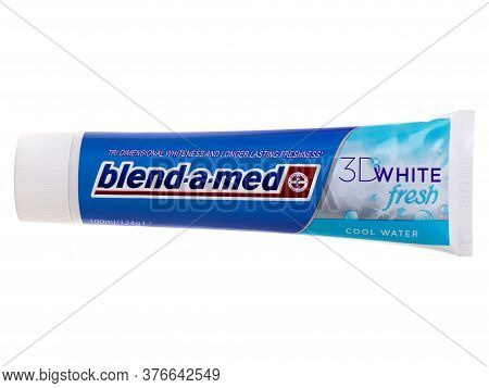 Bucharest, Romania - May 22, 2015. Blend-a-med Toothpaste, 3d White Fresh, Cool Water Made By Procte