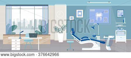 Dental Room Flat Color Vector Illustration. Stomatology Clinic, Dentist Office 2d Cartoon Interior D