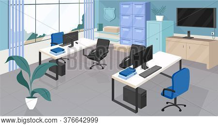 Police Department Flat Color Vector Illustration. Open Space Office, Coworking Center 2d Cartoon Int