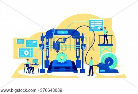 Process Automation Flat Concept Vector Illustration. Digitalization Of Factory Machinery. Digital Tr