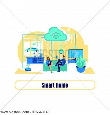 Smart Grid Flat Concept Vector Illustration. Smart Home Phrase. Automatic Appliance. Remote Control