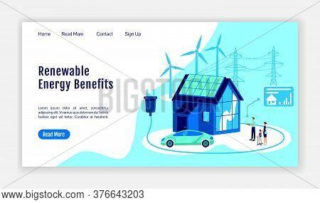 Renewable Energy Benefits Landing Page Flat Color Vector Template. Online Platform Homepage Layout.