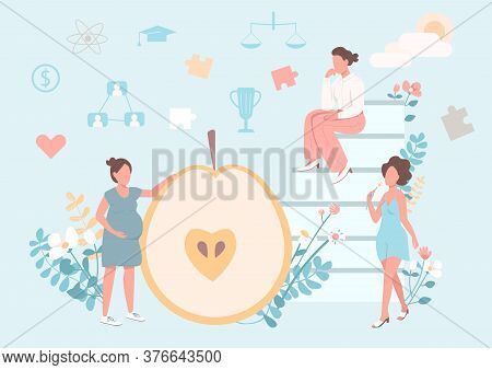 Women Healthy Lifestyle Flat Concept Vector Illustration. Nutrient Diet. Pregnant Girl. Equality And