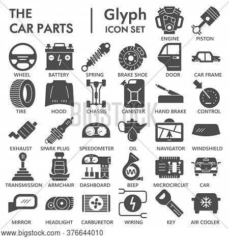 Car Parts Solid Icon Set, Vehicle Part Symbols Collection Or Sketches. Car Service Maintenance Glyph