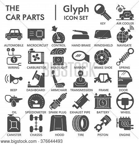 Car Parts Solid Icon Set, Vehicle Repairing Symbols Collection Or Sketches. Car Inside And Outside G