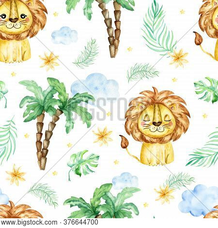 Seamless Tropical Pattern With A Lion. Watercolor Cartoon Lion Savanna Animal Illustration. Jungle S