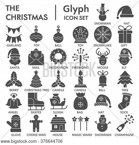 Christmas Party Celebration Solid Icon Set, Happy New Year Symbols Collection Or Sketches. Winter De