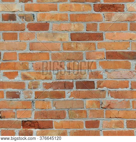 Repeating Seamless Background Of An Old Orange Brick Wall