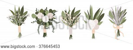 Set Of Wedding Bouquets With Flowers Rose, Lavender Eucalyptus Green Leaves Isolated On White Backgr