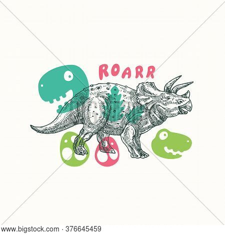 Prehistoric Dinosaur Abstract Sign, Symbol Or Card Template. Hand Drawn Triceratops Reptile With Fun
