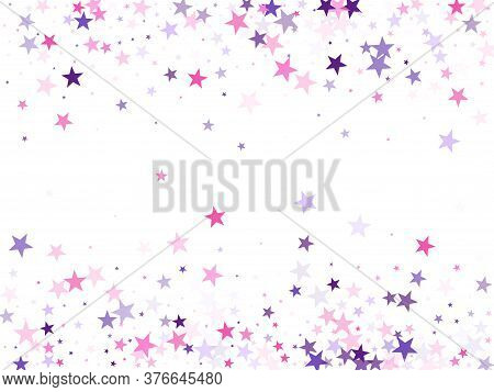 Flying Stars Confetti Holiday Vector In Pink Violet Purple On White. Abstract Starburst Modern Confe