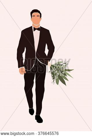 Abstract Groom In Wedding Suit With Wedding Bouquet In Hand Card Isolated On Light Background. Fashi