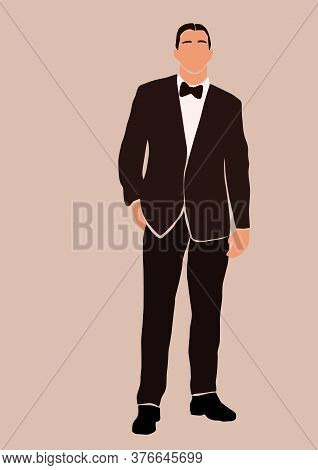 Abstract Groom In Wedding Suit Card Isolated On Light Background. Fashion Minimal Trendy Man In Cart