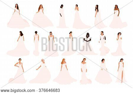 Set Of Abstract Brides In Various Wedding Dress Isolated On White Background. Different Nationalitie