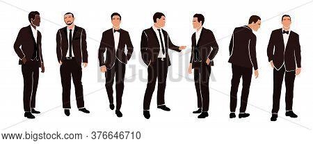 Collection Of Grooms In Wedding Suits In Various Poses Isolated On White Background. Different Natio