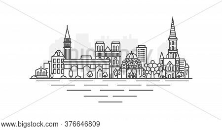 City Of Brussels, Belgium Architecture Line Skyline Illustration. Linear Vector Cityscape With Famou