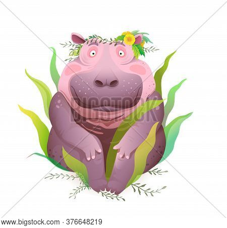 Body Positive Happy And Smiling Hippopotamus Sitting In Nature Wearing Flowers Wreath On Head. Cute