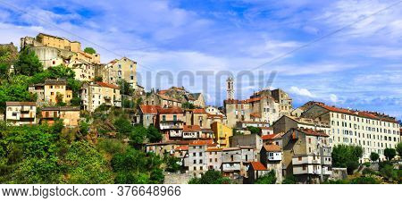 Corsica island travel , beautiful places. Corte - old medieval village. France