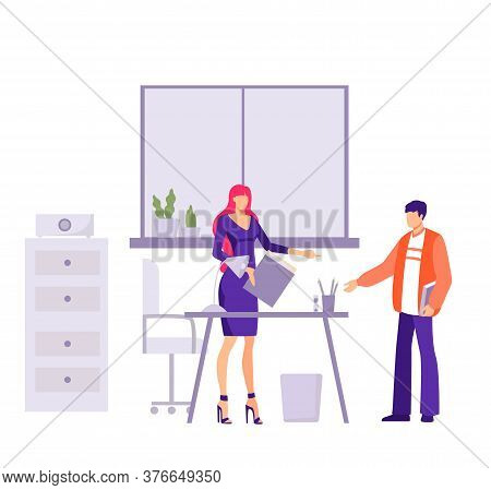 Verification Financial Commission In Office Illustration. Female