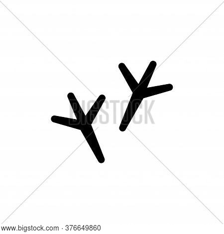 Bird Feet, Turkey Trail, Footprints Track. Flat Vector Icon Illustration. Simple Black Symbol On Whi
