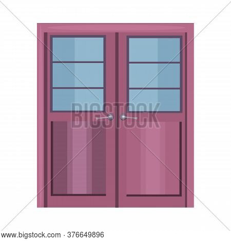 Purple Double Door With Handles And Glass. Hall, Facade, Entrance. Illustration Can Be Used For Topi