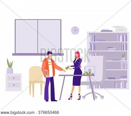 Salary Issue In Office Illustration. Female Character
